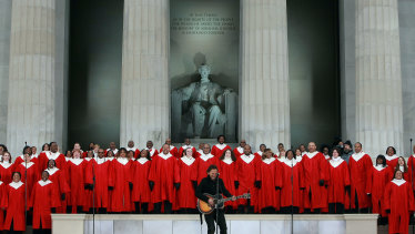 Bruce Springsteen at Barack Obama's 2009 inauguration, a leader who spoke to the America he pictured in his music.