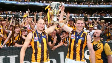 Ben McEvoy (right) and David Hale celebrate the 2015 premiership.