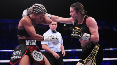 Ireland's Katie Taylor lands a right on Christina Linardatou in their super-lightweight world title fight in November.