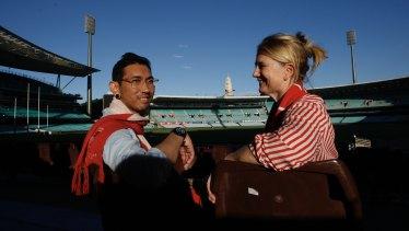 Khaidir Abu Jalil at the AFL with his nurse Amanda McLaughlin.