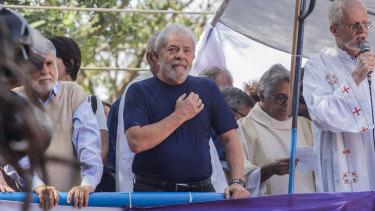 Brazil's former president Luis Inacio da Silva, centre, last year.