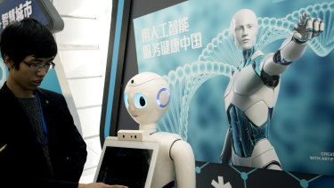 A Chinese iFlyTek robot that uses artificial intelligence. China wants to become the world's leader in artificial intelligence.