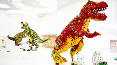 Dinosaurs at the Lego House in Billund. The company wants to eliminate its dependence on petroleum-based plastics.