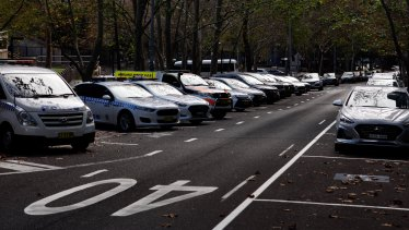 Some of the dedicated on-street police parking on Goulburn Street.