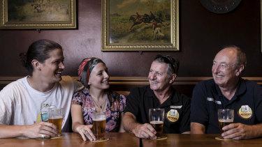 Jim Barker, Jamie Lee-Garner, Mark Sullivan and John Watkins enjoy a Resch's beer at the Shakespeare Hotel in Surry Hills