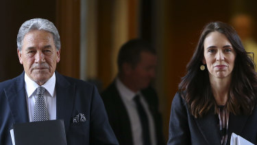 Deputy Prime Minister Winston Peters and Prime Minister Jacinda Ardern in Wellington, New Zealand