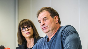 """CFMEU secretary John Steka and with his wife Emma Walters, who said the """"Get Setka"""" campaign had taken its toll on the couple."""