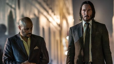 Yassin (Aissam Bouali, left) and John Wick (Keanu Reeves) in John Wick: Chapter 3 - Parabellum.