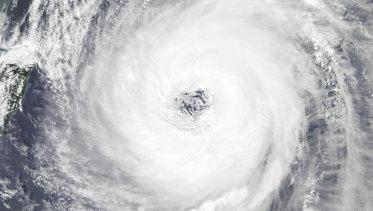A NASA satellite image of Typhoon Trami.