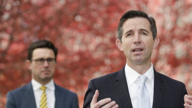 Agriculture Minister David Littleproud and Trade Minister Simon Birmingham.
