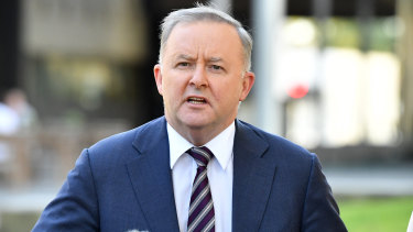 Labor leader Anthony Albanese speaks during a media conference at the Caboolture Hub, north of Brisbane, on Tuesday.