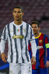 Barcelona's Lionel Messi, right, and Juventus' Cristiano Ronaldo during the Champions League match in December last year.