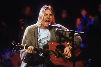 Kurt Cobain of Nirvana played the guitar during the taping of MTV Unplugged in 1993.