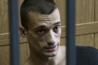 Russian artist Pyotr Pavlensky, pictured in a Moscow court in 2016, has been arrested by French authorities.