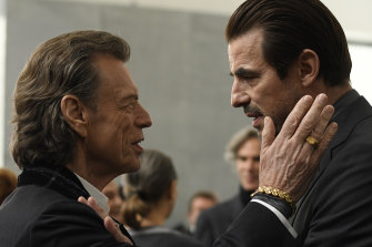 Star struck: Mick Jagger (as Joseph Cassidy) and Claes Bang (as James Figueras).