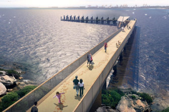 The proposed ferry wharf at La Perouse will extend 180 metres from the shoreline.