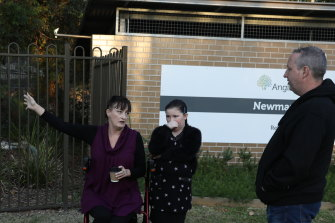 Liz Lane with daughter Samantha and Anthony Bowe outside Newmarch House earlier this week.