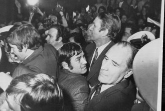 Prime minister Malcolm Fraser gets a rough reception at Monash University in 1976.