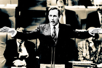 Paul Keating during the budget session question time in 1992.