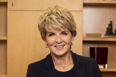 Julie Bishop in her new office at the Australian National University