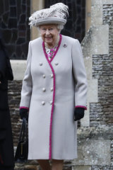 Britain's Queen Elizabeth II leaving the St Mary Magdalene Church after the service.