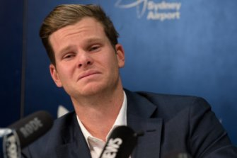 Steve Smith addresses the media at Sydney Airport on Thursday.