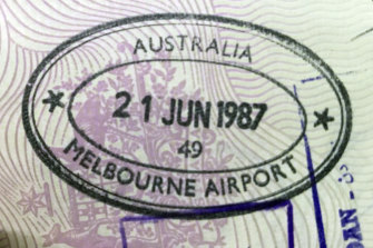 Passport stamp.