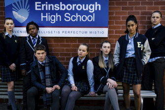 Neighbours: Erinsborough High cast, from left, Olivia Lane (Grace O'Sullivan), Jeremiah (Darius Amarfio-Jefferson), Hendrix (Ben Turland), Harlow (Jemma Donovan), Mackenzie (Georgie Stone),  Yashvi (Olivia Junkeer) Ritchie (Lachlan Millar).
