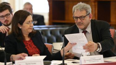 Annastacia Palaszczuk and David Barbagallo at budget estimates last week.