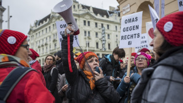 The Grannies Against the Right group protests in Vienna last month.