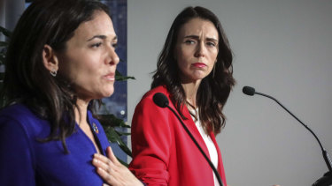 Sheryl Sandberg, with NZ Prime Minister Jacinda Ardern, acknowledged Facebook did not take down videos of the Christchurch killings quickly enough.