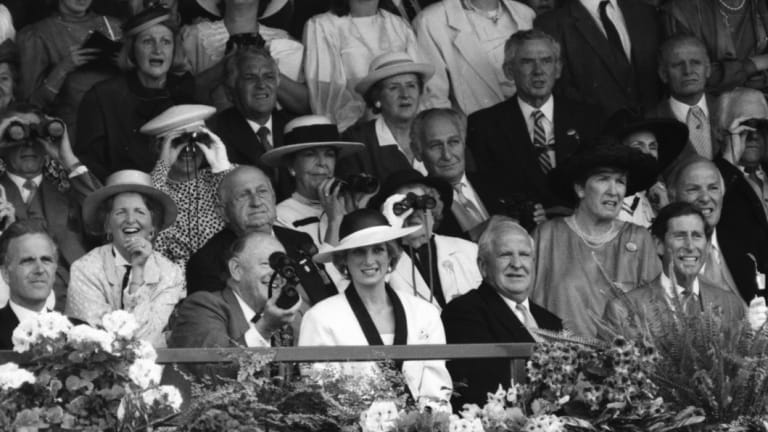 Prince Charles and Princess Diana watch the Melbourne Cup in 1985.