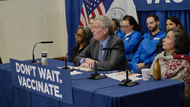New York City mayor Bill de Blasio speaks at a news conference in April at the Williamsburg branch of the Brooklyn Public Library, where a measles outbreak occurred.