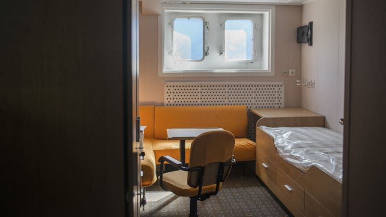 A cabin in the residential block of the floating nuclear power plant Akademik Lomonosov.