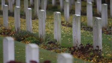 Graves at the Australian National Memorial to World War I soldiers at   Villers-Bretonneux in France.