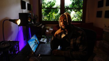 Kwame in his home studio.