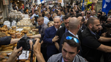 Prime Minister Benjamin Netanyahu of Israel visits the markets in Jerusalem as part of his election campaign.