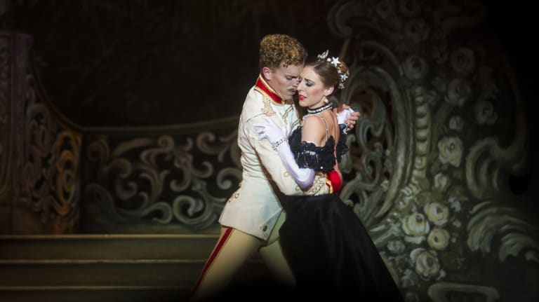 Adam Bull as Count Danilo and Lana Jones as the Widow in <i>The Merry Widow</i>.