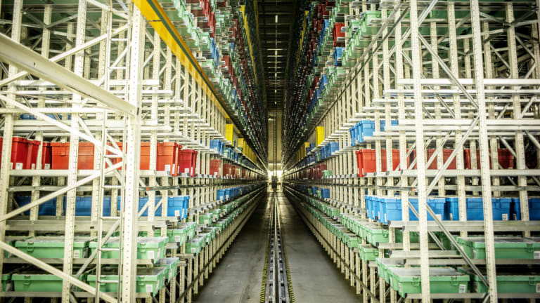 """Storage facilities for Lego bricks in Billund.  The  facility churns out about 100 million """"elements"""" each day."""