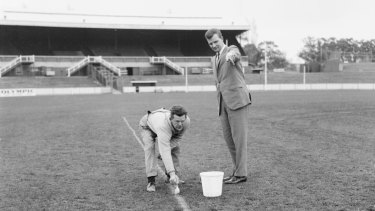 Marking out the rectangle at Princes Park in 1966  for a trial during a game played for premiership points.