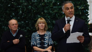 Ahmed Fahour with Harvey Norman's Gerry Harvey and Katie Page at the launch of LatitudePay.