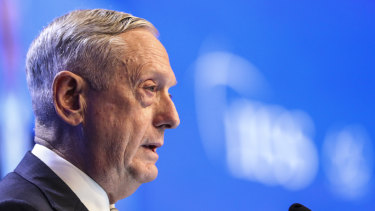 US Defence Secretary Jim Mattis addresses the Shangri-La Dialogue on Saturday.