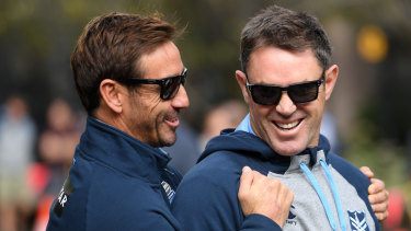 Lapsing lyrical: NSW almost had to wait even longer to sing their new victory song after coach Brad Fittler (right) left the lyrics at his hotel.
