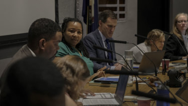 Mayor Nikuyah Walker, centre, at a meeting in Charlottesville in May.