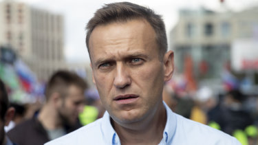 Russian opposition activist Alexei Navalny attends a protest in Moscow, Russia.