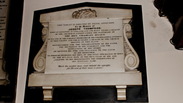 Joseph Thompson's plaque in the Pitt Street Congregational Church.