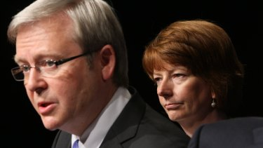 Then prime minister Kevin Rudd with his deputy Julia Gillard in December 2008.