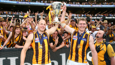 Ben McEvoy (right) and David Hale celebrate the 2015 premiership.