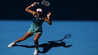 Naomi Osaka in action against Elina Svitolina of Ukraine during the women's singles quarter-final match on day ten of the Australian Open on Wednesday.