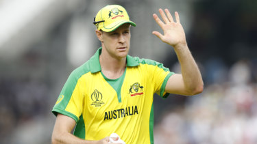 Jason Behrendorff acknowledges the crowd at Lord's.